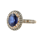 Gorgeous Classic Estate Ladies 14K Rose Gold Blue Topaz Diamond Halo Ring