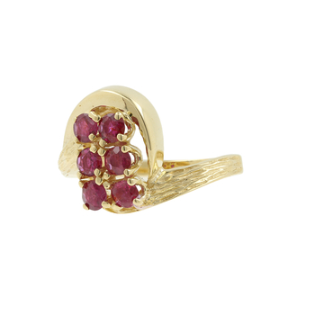 Ladies Vintage Classic Estate 14K Yellow Gold Red Spinel Bypass Cocktail Ring