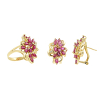 Ladies Vintage Estate 14K Yellow Gold Red Spinel Diamond Ring & Earrings Jewelry Set