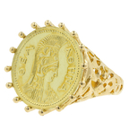 Vintage Estate Ladies 18K Yellow Gold  Athena Coin Cocktail Ring