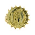 Vintage Estate Ladies 18K Yellow Gold  Athena Coin Cocktail Ring