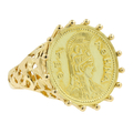 Ladies Vintage Classic Estate 18K Yellow Gold Athena Coin Cocktail Ring