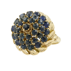 Vintage Estate 14K Yellow Gold Blue Spinel Cluster Cocktail Ring