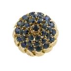 Vintage Estate 14K Yellow Gold Blue Spinel Cluster Cocktail Ring