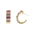 Estate Vintage 14K Yellow Gold Diamond Red Spinel Huggie Push Back Earrings