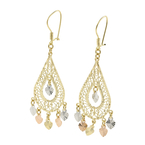 Vintage Estate 14K Yellow Gold Ornate Filigree Dangle Earrings Jewelry