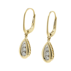 Estate Classic Ladies 14K Yellow Gold Diamond Drop French Back Earrings