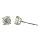 Ladies Classic Estate 14K White Gold Diamond Stud Push Back Earrings - 0.80CTW