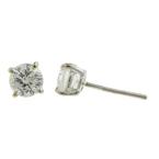 Ladies Classic Estate 14K White Gold Diamond Stud Push Back Earrings - 0.80CTW
