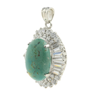 Gorgeous Classic Estate Ladies 925 Silver Green Turquoise Zirconia Pendant - 38MM