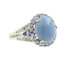 Classic Estate 925 Silver Purple Iolite Blue Chalcedony Ladies Cocktail Ring