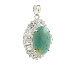 Gorgeous Classic Estate Ladies 925 Silver Green Turquoise Zirconia Pendant - 38MM