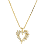 Estate 14K Yellow Gold Diamond Heart Pendant w/ 10K Fox Tail Chain - 1.45CTW