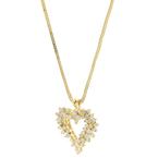 Estate 14K Yellow Gold Diamond Heart Pendant w/ 10K Fox Tail Chain - 1.45CTW