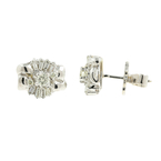 Classic Estate 14K White Gold Stud Push Back Ladies Diamond Earrings - 0.80CTW