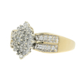 LadiesVintage Classic Estate 14K Yellow Gold Diamond Cluster Ring - 0.90CTW