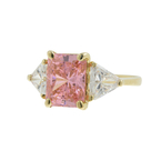 Ladies Classic Estate 14K Yellow Gold Pink & White Zirconia Cocktail Ring