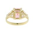 Ladies Classic Estate 14K Yellow Gold Pink & White Zirconia Cocktail Ring