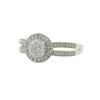 Classic Estate 10K White Gold Rosseta Cluster Diamond Halo Ladies Ring - 0.62CTW