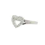 Ladies Classic Estate 18K White Gold Diamond Heart-Shaped Promise Ring - 0.28CTW