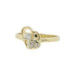 Vintage Classic Estate Ladies 14K Yellow Gold Ziconia Heart Promise Ring