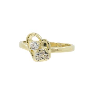 Vintage Classic Estate Ladies 14K Yellow Gold Zirconia Heart Promise Ring