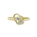 Vintage Classic Estate Ladies 14K Yellow Gold Zirconia Heart Promise Ring