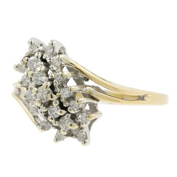 Stunning Classic Estate Ladies 14K Yellow Gold Diamond Cocktail Ring - 0.29CTW
