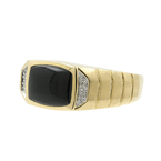 Stunning Vintage Classic Estate 14K Yellow Gold Diamond & Black Onyx Mens Ring
