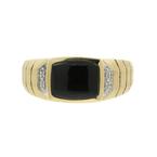 Stunning Vintage Classic Estate 14K Yellow Gold Diamond & Black Onyx Mens Ring