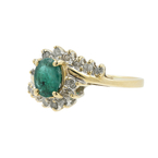Ladies Vintage Estate 10K Yellow Gold Diamond & Green Emerald Birthstone Ring