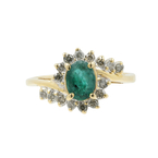Ladies Vintage Estate 10K Yellow Gold Oval Green Emerald Diamond Birthstone Ring