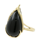 Vintage Classic Estate 14K Yellow Gold Tear Drop Black Onyx Ladies Cocktail Ring