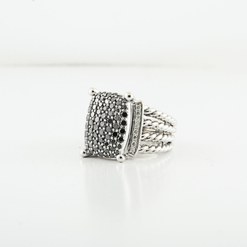 David Yurman Wheaton Pavé Black & White Diamond Ring 925 Silver Size 5.75 Ring