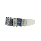 Ladies Classic Estate 14K White Gold Diamond & Blue Sapphire Ring Band - 0.96CTW