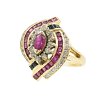 Estate Ladies 14K Yellow Gold Blue Spinel Red Ruby Diamond Bypass Cocktail Ring