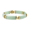 Ladies Vintage Classic Estate 14K Yellow Gold Green Jade Bracelet - 7 Inch