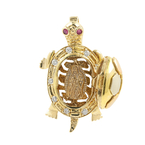 Unique Vintage Estate 14K Yellow Gold Cubic Zirconia Moving Turtle Pendant 30MM