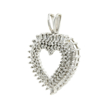 Ladies Classic Estate 10K White Gold Gorgeous Diamond Heart Pendant - 0.96CTW