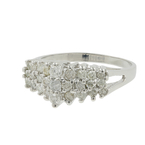 Ladies Estate 10K White Gold Scintillating Diamond Cluster Pyramid Ring 1.05CTW