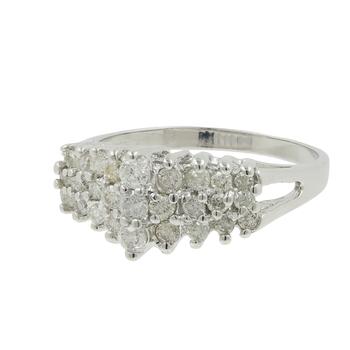 Ladies Estate 10K White Gold Scintillating Diamond Cluster Pyramid Ring 1.05CTW