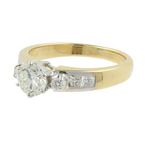 Estate 18K Yellow Gold Solitaire Diamond Side Accent Engagement Ring - 0.72CTW