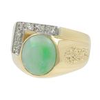 Vintage Classic Estate Men's 14K Yellow Gold Diamond Jade Cabochon Ring