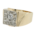 Stylish Estate 10K Yellow Gold Mens Diamond Signet Ring - Size 9.5 - 0.42CTW