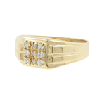 Vintage Classic Estate Men's Vintage 10K Yellow Gold Zirconia Ring - 0.18CTW
