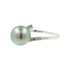 Ladies Stylish Modern 18K White Gold Tahitian Cultured Pearl Bypass Ring - 8.7MM