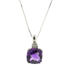 Ladies Estate 14K White Gold Purple Amethyst & Diamond Pendant w/ Chain Necklace