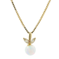 Ladies Classic Estate 14K Yellow Gold Zirconia & Opal Floral Pendant & Necklace