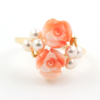 Charming Classic Estate 14K Yellow Gold Rose Cut Flower White Pearl Ladies Ring