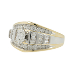 Estate Ladies 14K Yellow & White Gold Marquise & Round Diamond Ring - 1.23CTW